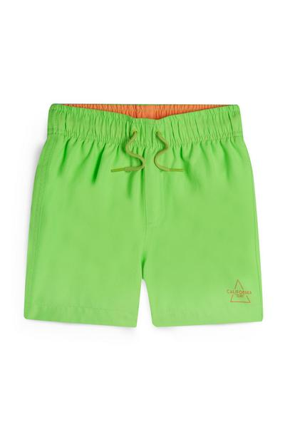 Younger Boy Neon Green Swim Shorts