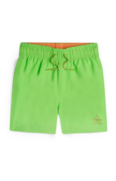 Neongrüne Badeshorts (kleine Jungen)