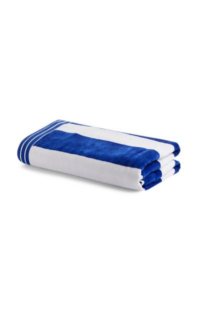 Blue And White Cabana Stripe Beach Towel