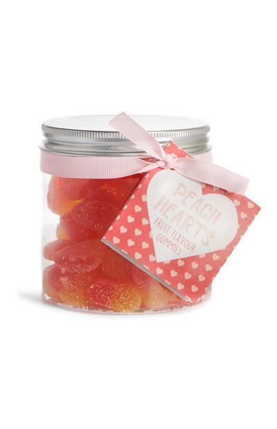 Gomas sabor fruta Peach Hearts