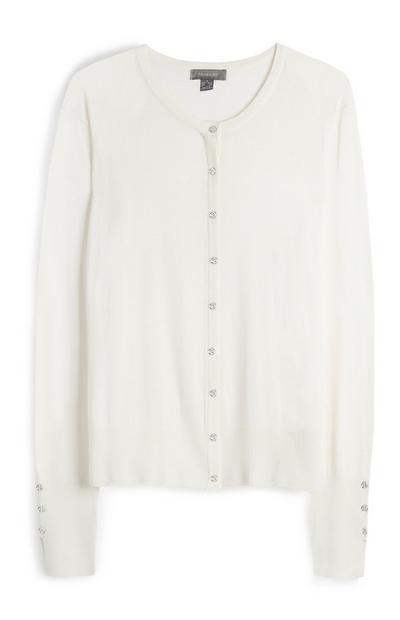 Ivory Silver Button Up Cardigan