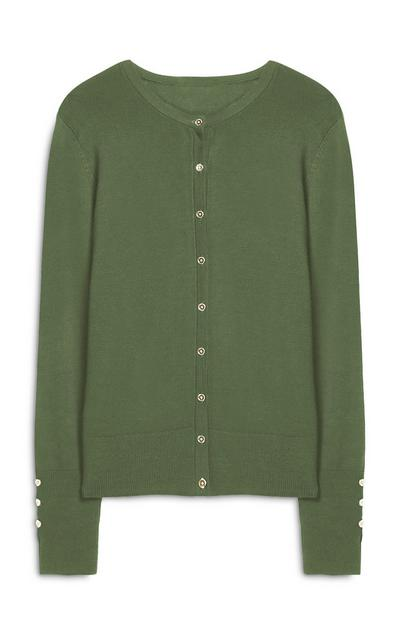 Green V Neck Button Up Cardigan