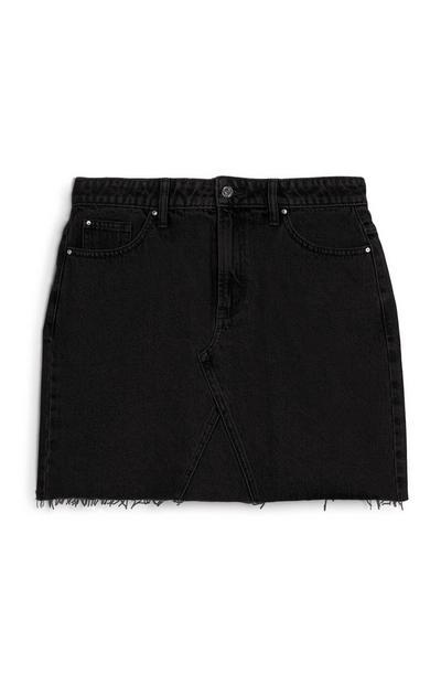 Black Basic Denim Mini Skirt