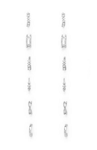 White Small Hoop Earrings 6Pk