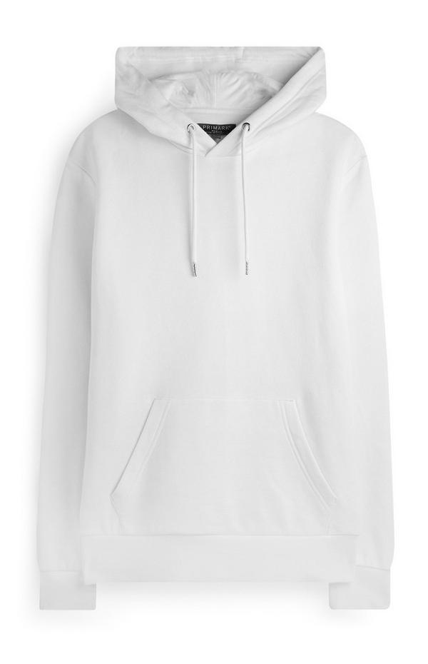 Camisola lisa capuz e bolso frontal branco