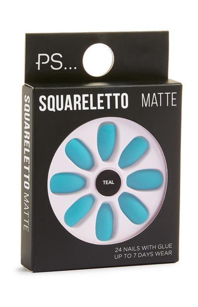 Faux ongles mats bleu sarcelle Squareletto
