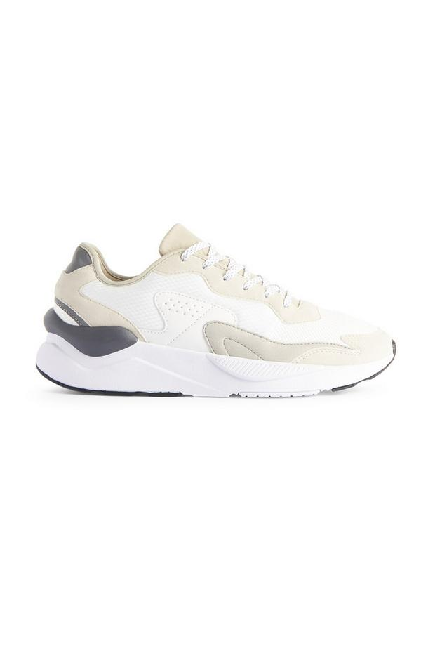 White And Beige Tonal Lace Up Trainers