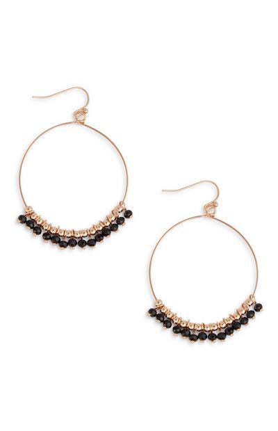 Créoles à perles noires