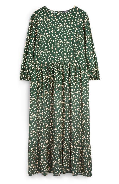 Green Dotted Midi Tier Dress