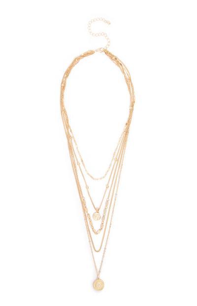 Rumena večslojna ogrlica z obeskom