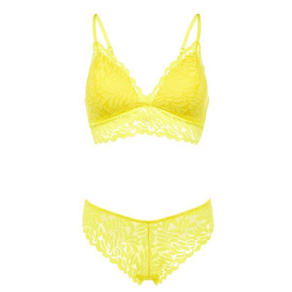 Ensemble de sous-vêtements jaune en dentelle