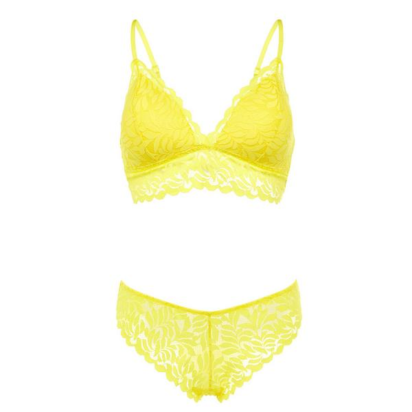 Completo intimo giallo in pizzo