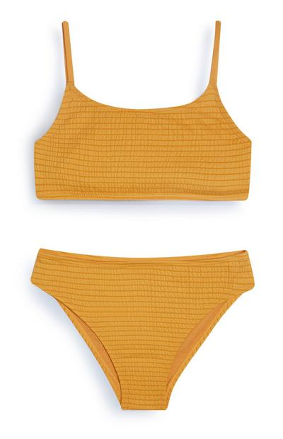 Older Girl Mustard Textured Bikini