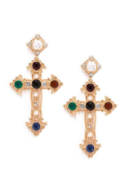 Multi-Coloured Jewelled Ornate Cross Drop Earrings