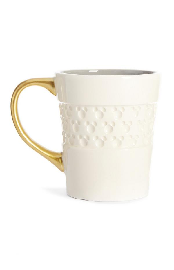 Taza blanca de Mickey Mouse en relieve