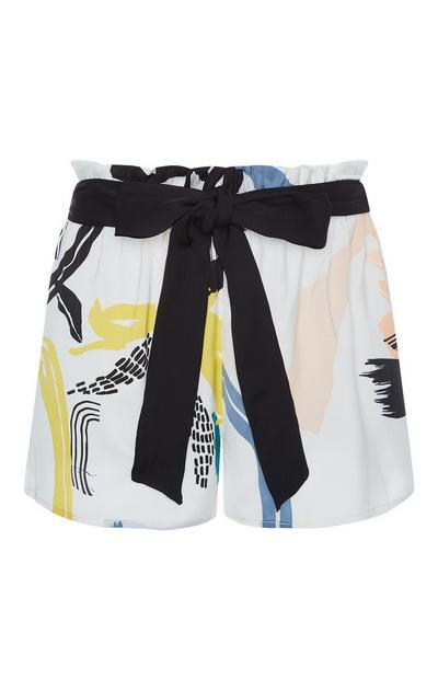 Ivory Satin Paint Print Shorts