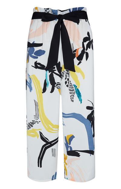 Ivory Satin Paint Print Trousers