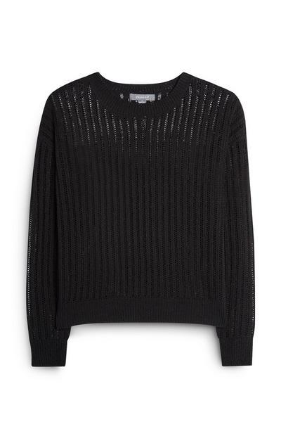 Schwarzer Pullover mit Lochstrickmuster