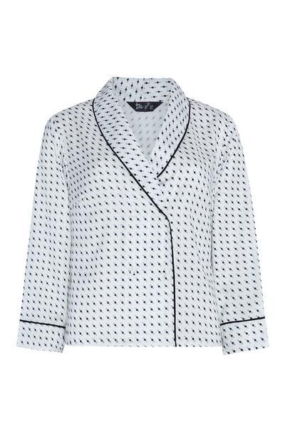 Camicia bianca e nera in raso con stampa geometrica