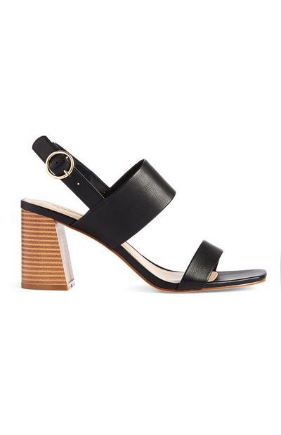 Zwarte sandalen met wijde hak en bandjes
