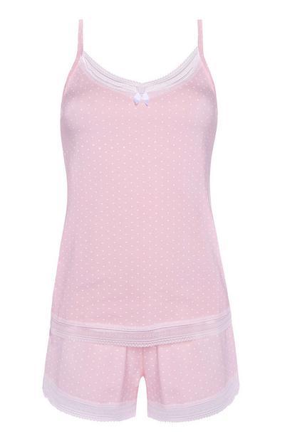 Pink Polka Dot Pajama Cami And Shorts Set