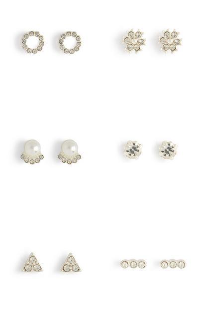 Lot de 6paires de clous d'oreilles blancs avec strass et pierres