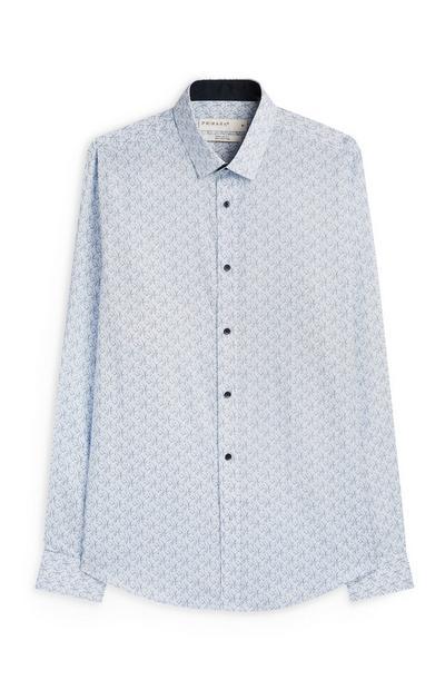 Hellblaues Slim-Fit-Baumwollhemd mit Blumenmuster