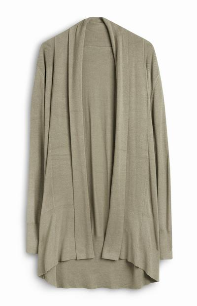 Light Green Casual Draped Cardigan