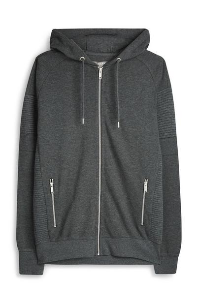 Charcoal Biker Zip Up Hoodie