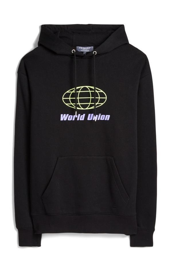 """Schwarzer """"World Union""""-Kapuzenpullover"""