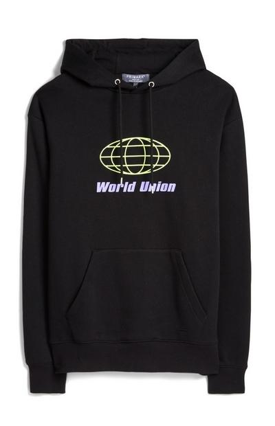 Sudadera negra con capucha World Union