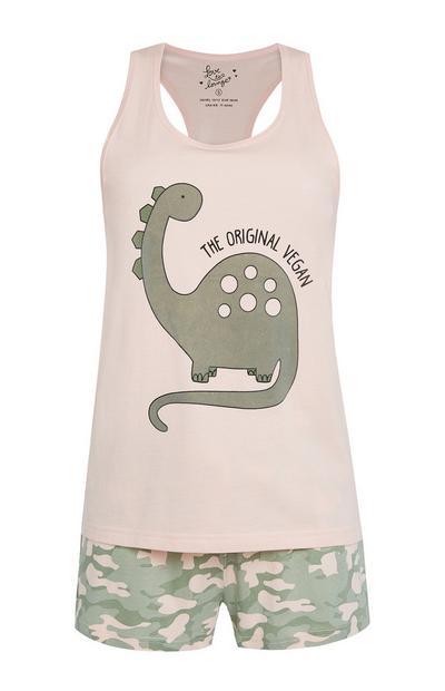 Rosafarbenes Pyjamaset mit Tarnmuster und Dinomotiv