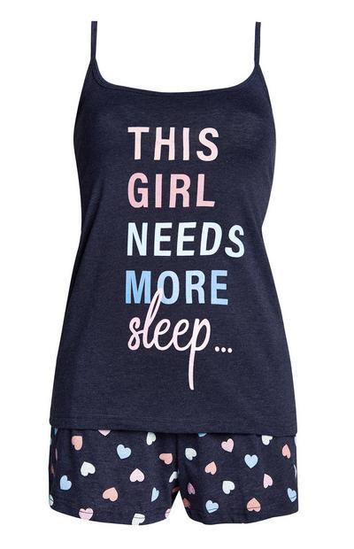 Pyjama bleu à message avec short