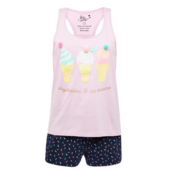 Pink Novelty Short Pajamas Set