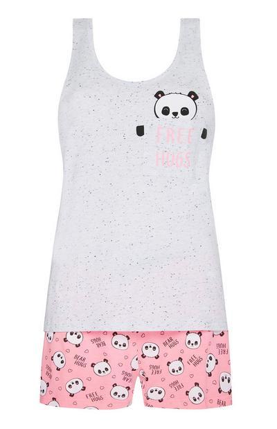 Grey And Pink Panda Pyjama Vest And Shorts