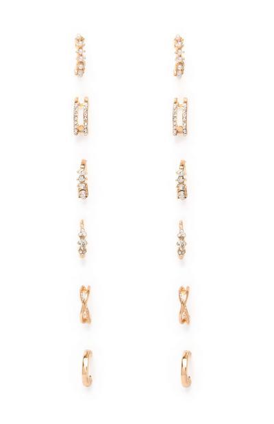 Kolekcija majhnih rumenih uhanov z diamantki, 6 parov