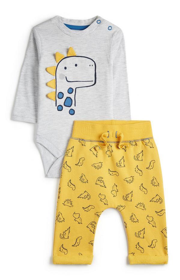 Grijze babyset met dinoprint voor jongens