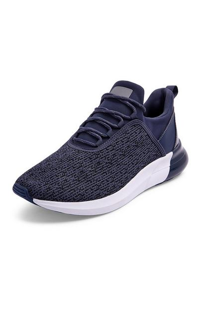 Navy Glossy Heel Knitted Trainer