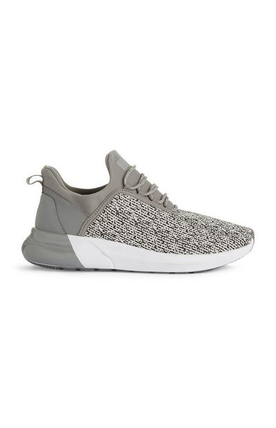 Grey Knit Trainers