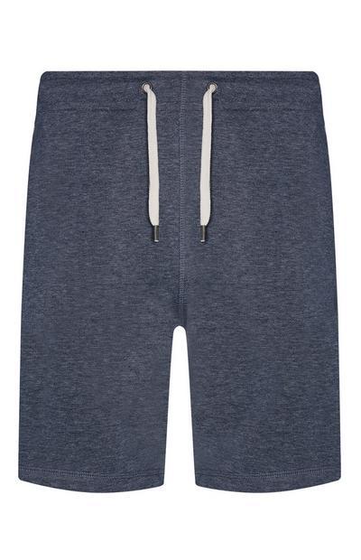 Short de jogging bleu chiné en jersey