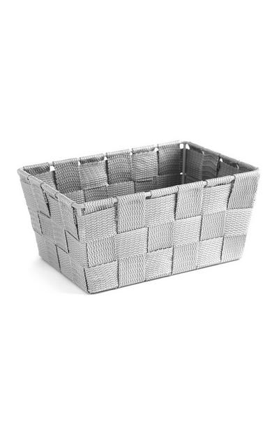 Petite boîte de rangement grise tissée