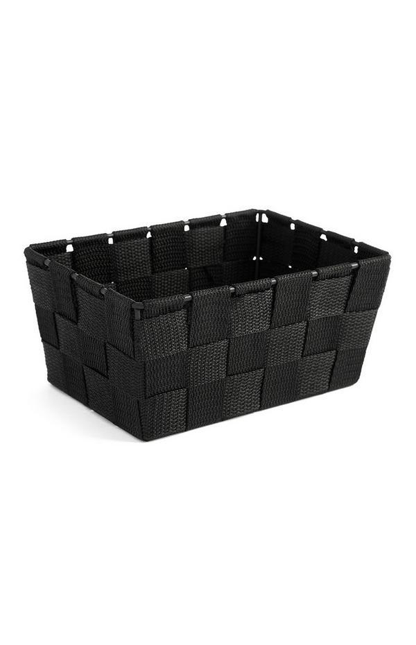 Boîte de rangement noire tissée