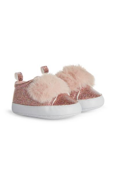Botas brilhantes menina bebé cor-de-rosa