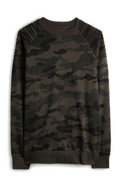Kaki trui met ronde hals en camouflageprint