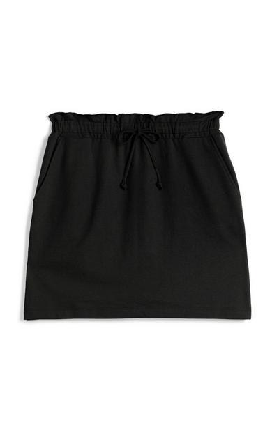 Black Drawstring Mini Skirt