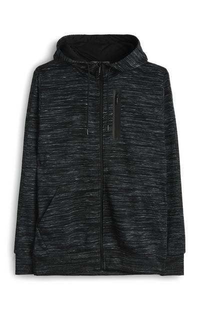 Črna jopica s teksturo, kapuco in z zadrgo