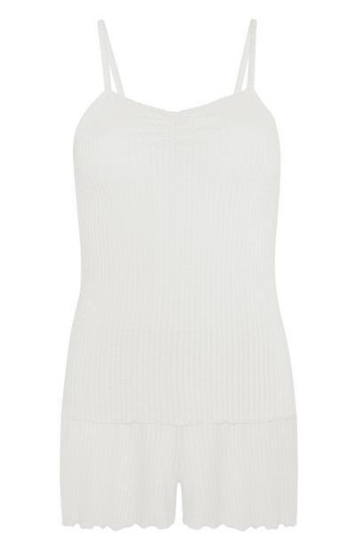 Ivory Pointelle Vest And Shorts Set