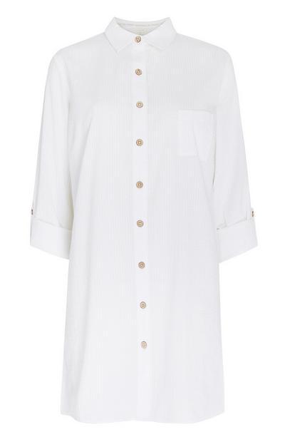 Chemise de nuit boyfriend blanche boutonnée en coton biologique
