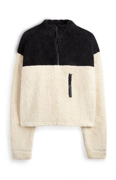 Maglione a blocchi di colore in sherpa