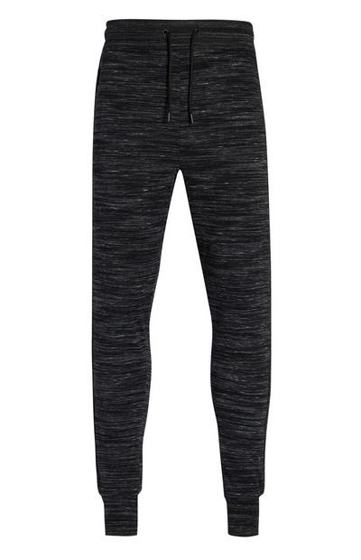 Black Textured Cuffed Joggers